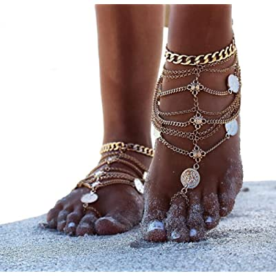 ANGTUO 1 Paire Sexy Vintage Beach Barefoot Anklet Chain Tassel Foot Jewelry