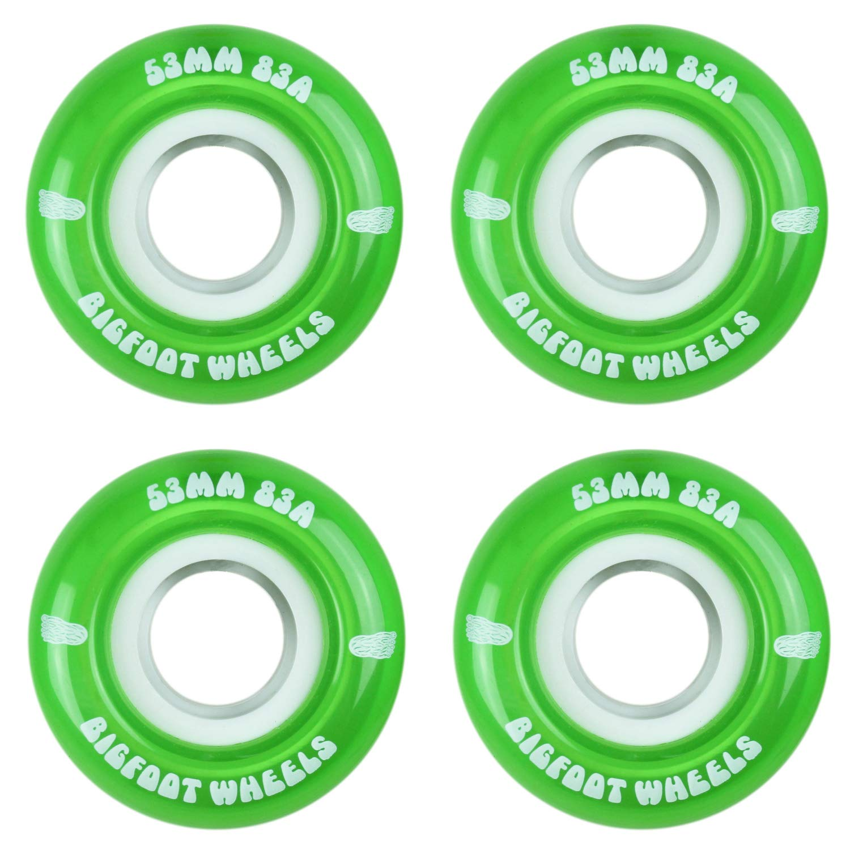 Bigfoot Skateboard Wheels 53mm 83A Soft Cruiser Filmer Wheels Green (Set of 4) by Bigfoot Wheels
