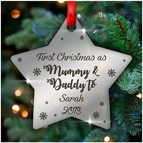 Christmas Gifts For New Parents.Personalised First 1st Christmas As Mummy And Daddy