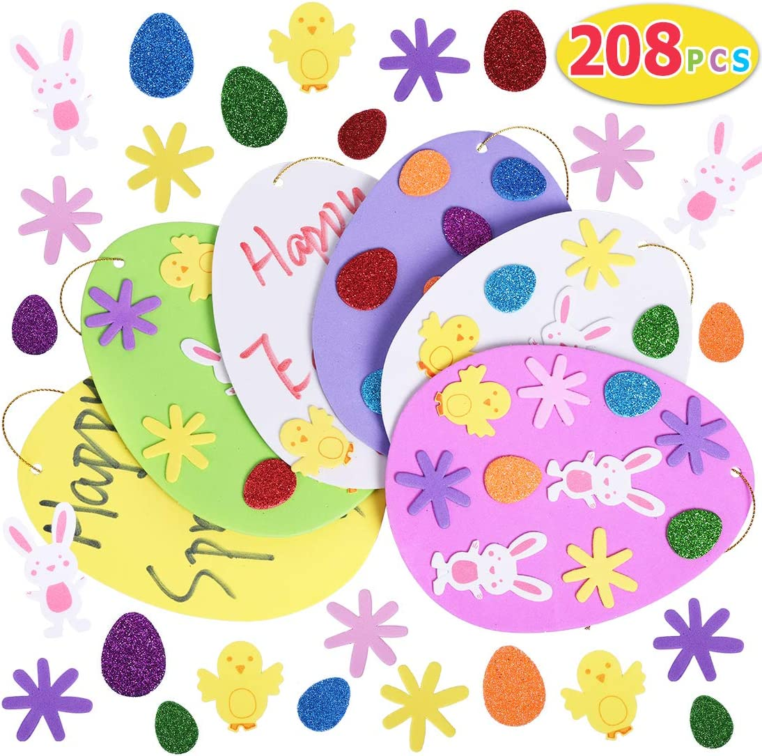 Window 6cm White Hanging Eggs Ornament and Glitter Foam Sticker for Kids to Arts and Crafts DIY Decor Painting Party Home IDEALHOUSE 130pcs Easter Eggs Decoration Foam Stickers Set
