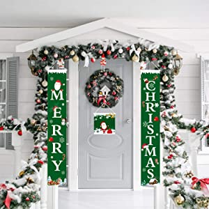 Christmas Porch Sign, 3 Pieces Xmas Decorations Banner, Front Door Merry Christmas Hanging Banners, Christmas Welcome Porch Sign for Indoor Home Wall Decorations Holiday Party Outdoor Decor