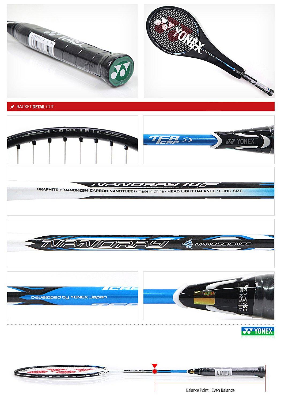 Yonex NANORAY 10F NEW Badminton Racket 2017 Racquet Blue 4U/G5 Pre-strung with a Half-length Cover (NR10F-BLUE) by Yonex (Image #3)