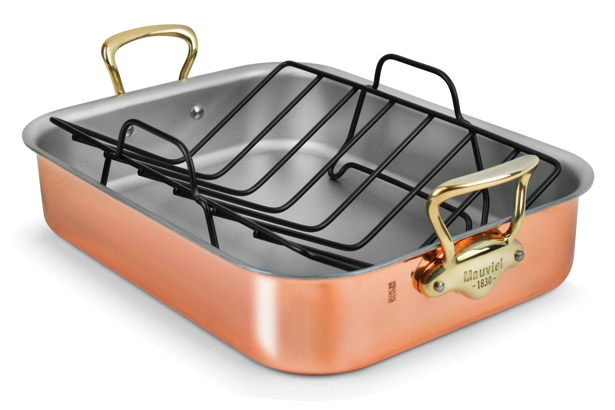 Mauviel Copper Roasting Pan with Rack (Bronze Handles)