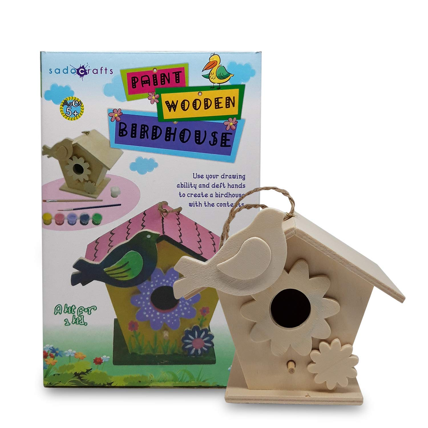 SadoCrafts Paint Your Own Birdhouse - Fun, Interactive, Educational, DIY Wood Arts and Crafts Kit for Kids