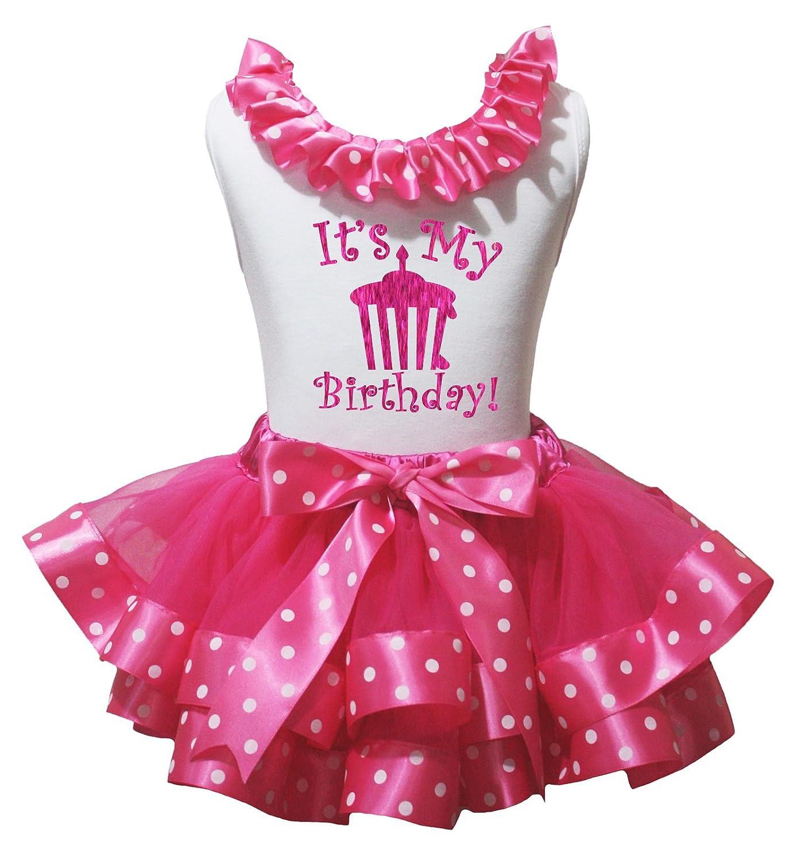 Amazon Petitebella Its My Birthday Cupcake White Shirt Hot Pink Dots Petal Skirt Nb 8y Clothing