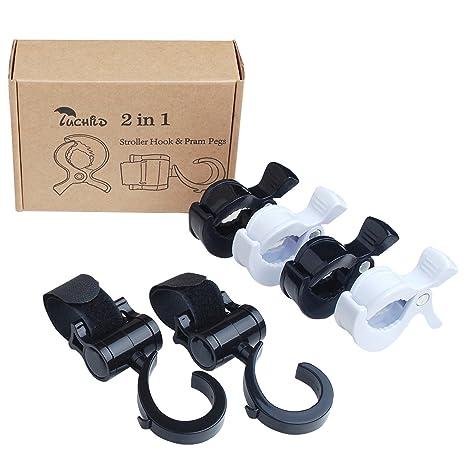 Luchild Ganchos Carrito Bebe & Clip de Cochecito Universal Baby Stroller Hook Clip para Cochecito (