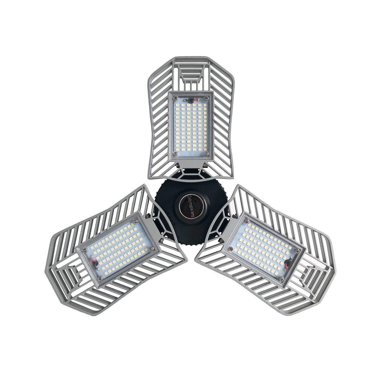 80W LED Garage Lights, Adjustable Trilights Garage Ceiling Lighting, High Bay Deformable LED Corn Light Bulbs with 8000LM 6000K for Basement Cellar (CFL HID HPS Metal Halide Lamps 300W-400W Equiv.)