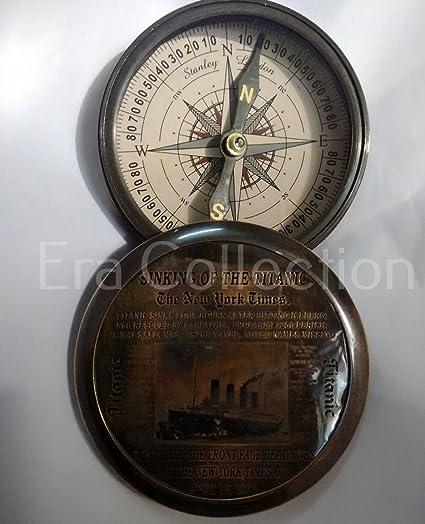 Titanic vintage Boussole par Euphoria Collection Laiton massif Compass|pocket Compass|compass Hiking|compass Outdoor|navigation nautique grav/é