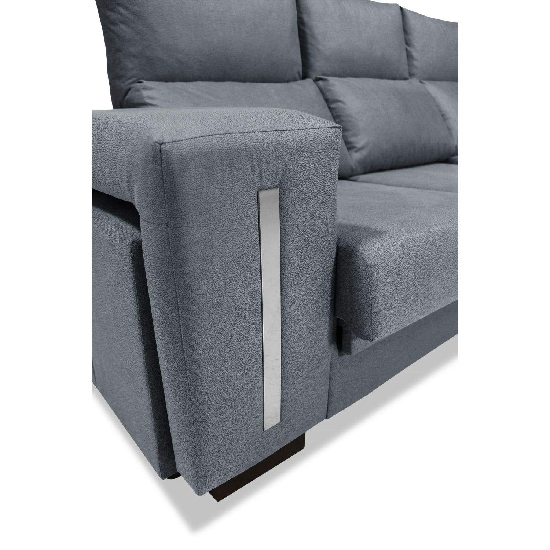 Muebles Baratos Sofa con Chaise Longue 3 plazas, Color Gris ...