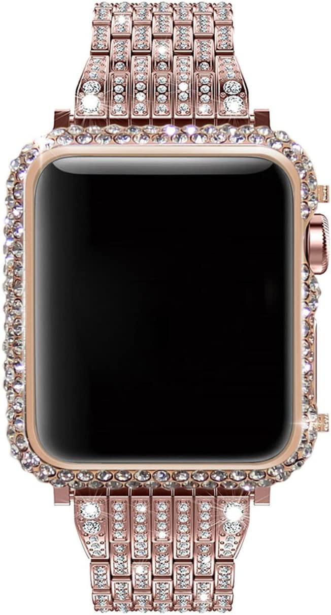 Callancity 42mm Bling Crystal Bumper 18K Diamonds Bezel Rose Gold Case Compatible with Apple Watch Series 1 Series 2 Series 3