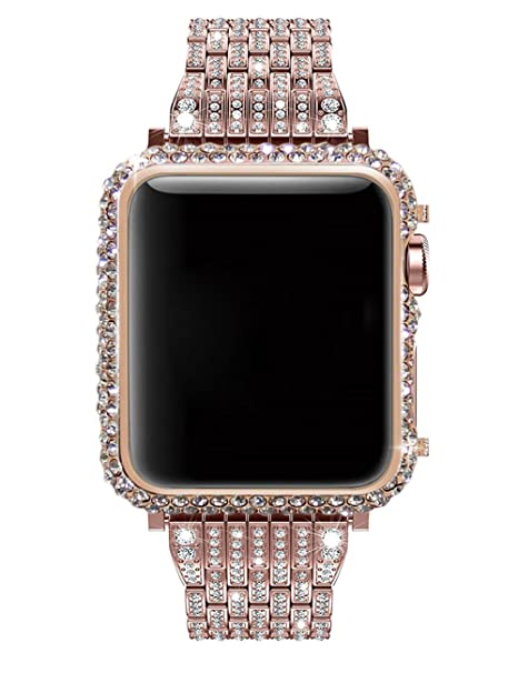promo code 8bed6 30839 Callancity 38mm Crystal Watch Bezel-Bling Bling Big Diamonds 18K Rose Gold  Case Compatible with Apple Watch Series 1 Series 2 Series 3 Non Ceramic ...