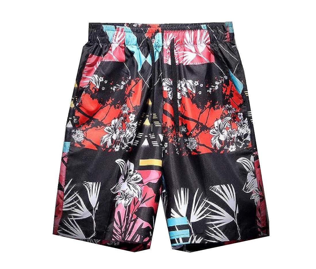 AngelSpace Men Square Leg Loose Swim Trunks Flower Drawstring Beach Swimsuit