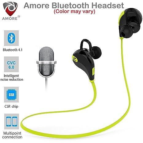 cda44bd92f8 Amore Bluetooth 4.1 Wireless Stereo Sport Headphones Headset Compatible  with Samsung, Motorola, Sony,