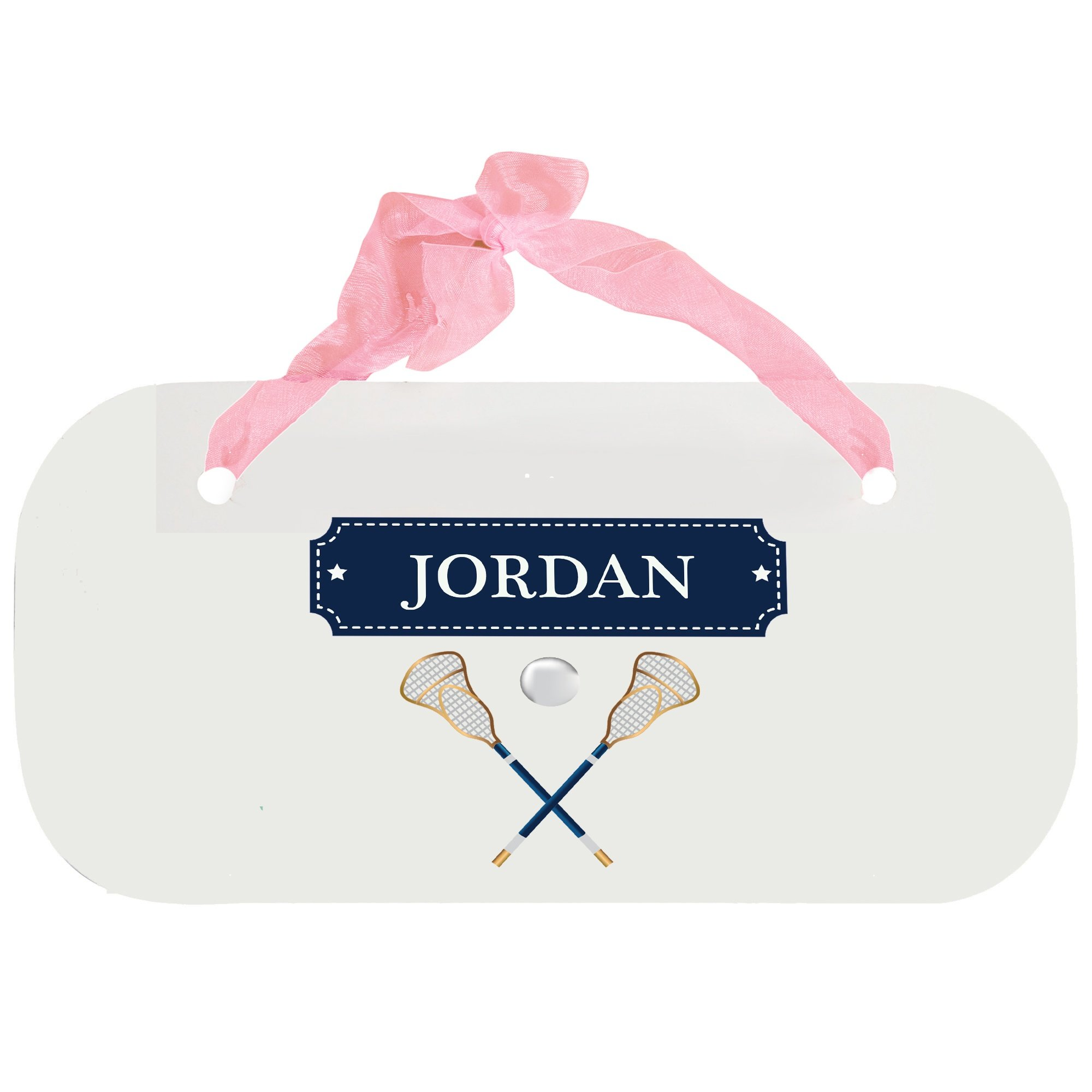 Personalized Lacrosse Sticks Wooden Door Hanger With Blue Ribbon