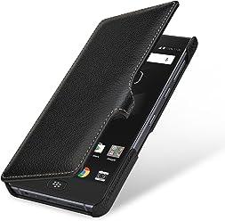 StilGut Book Type Case, custodia per BlackBerry Motion a libro booklet in vera pelle, Nero con Clip
