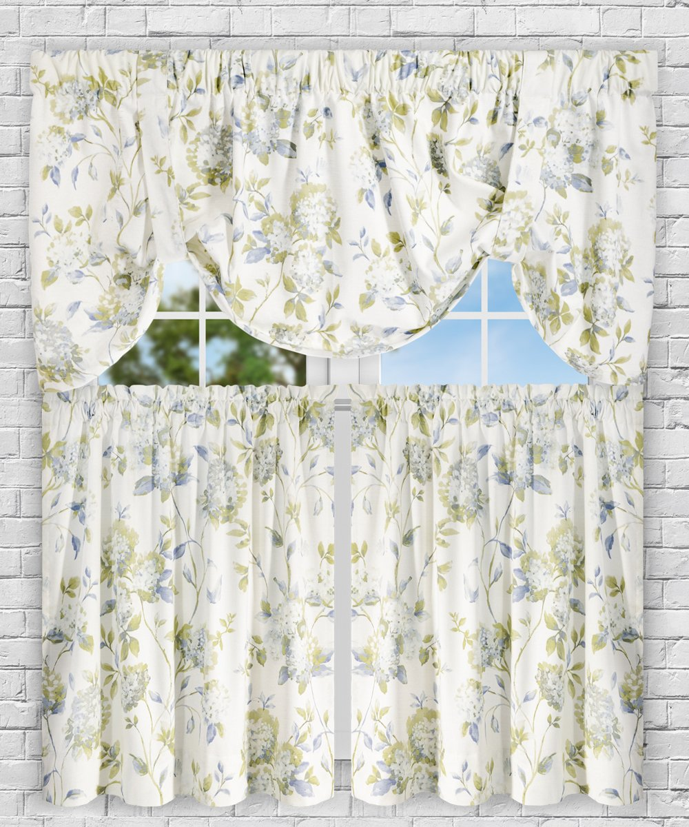 "Simple Comfort Abigail Traditional Hydrangea Floral Print Tie-Up Valance, 60 x 22"", Porcelain"