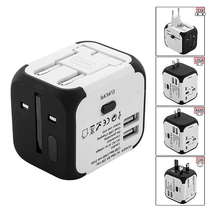 Adaptador Enchufe inglés Viaje, con Dos Puertos USB para US EU UK AU Acerca de 150 Países con Dos Fusibles Universal Enchufe Adaptador Internacional - ...