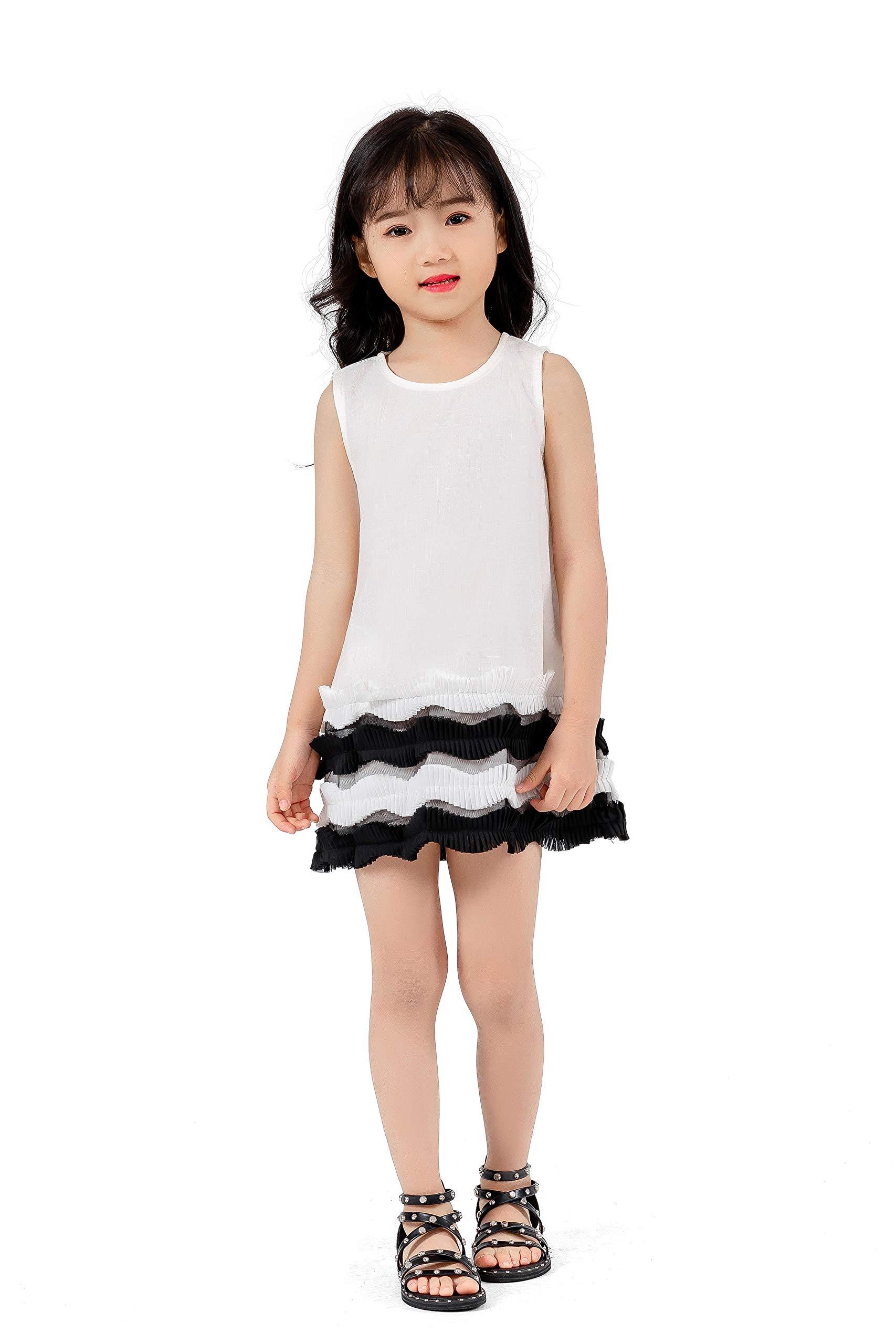 Magkay Kids Big Girls School Uniform Wavy Pleated Hem Sleeveless Zipper Dress White 8Y-9Y