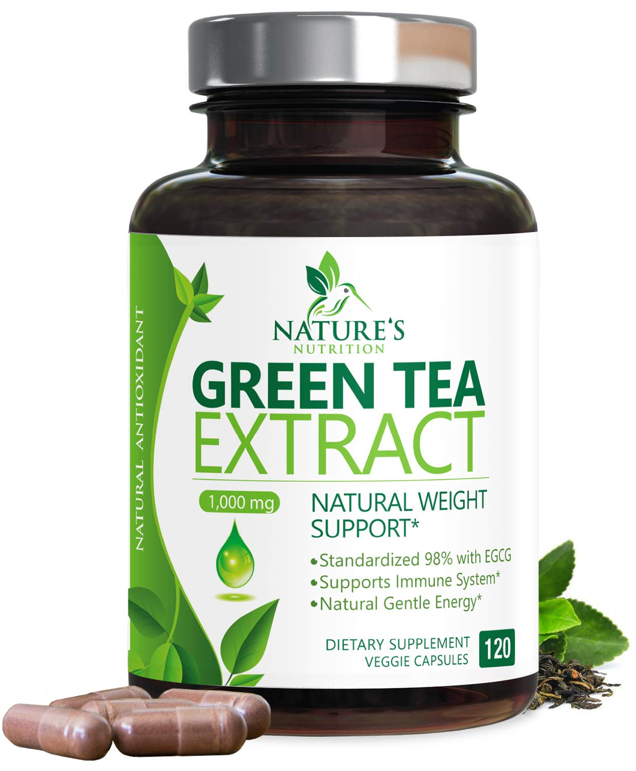 Green Tea Extract 98% Standardized Egcg for a Healthy Body 1000mg - Supports Healthy Heart, Metabolism & Energy with Polyphenols - Gentle Caffeine, Made in USA - 120 Capsules