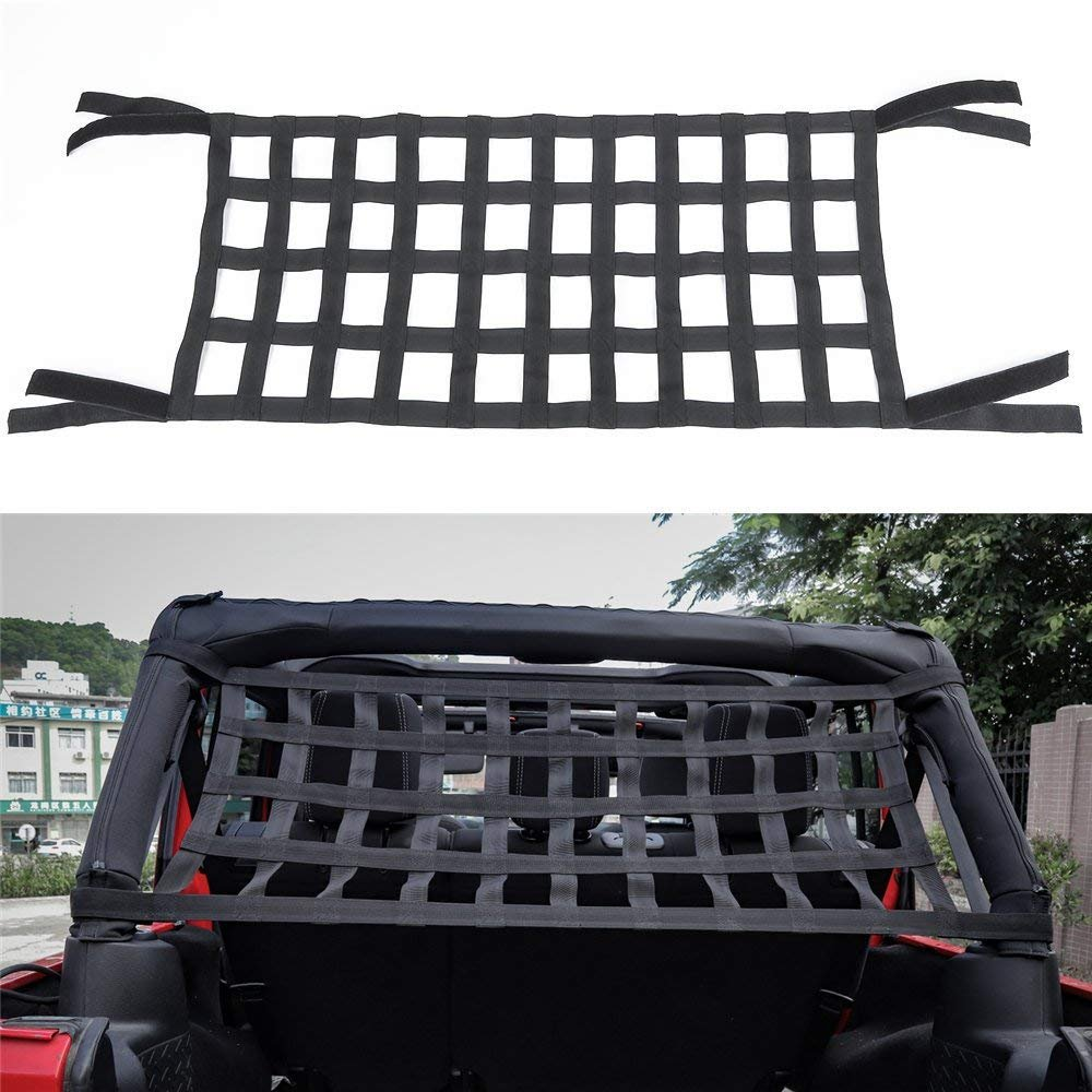 Bosmutus Rear Top Cargo Net for Jeep Wrangler,Car Roof Hammock Car Bed Rest Jeep Wrangler Accessories YJ, TJ, JK,JL YJ 1996-2018 Roof Storage Roll Cage Bar Restraint