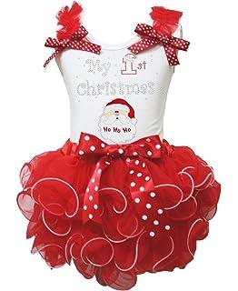 Christmas Dress Polka Dots 1st Red White Chevron Shirt Petal Skirt Set 1-8y