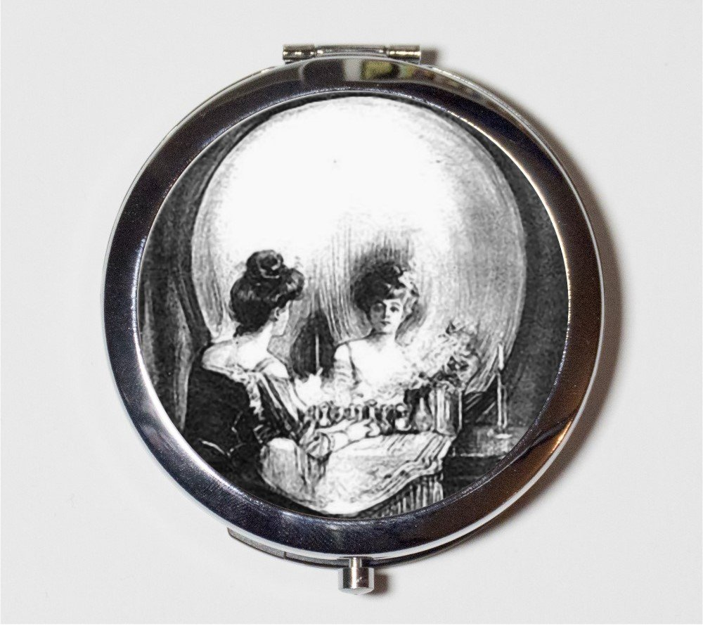 Skull Illusion Compact Mirror All is Vanity Metamorphic Optical Illusion Victorian Macabre Goth Make Up Pocket Mirror for Cosmetics
