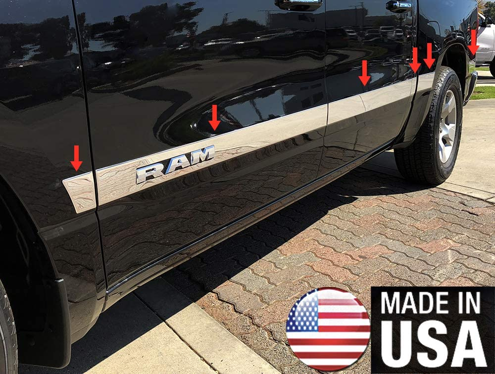 fits 2009-2018 Dodge Ram Quad Cab 6.4/' Short Bed W//F Rocker Panel Trim Upper