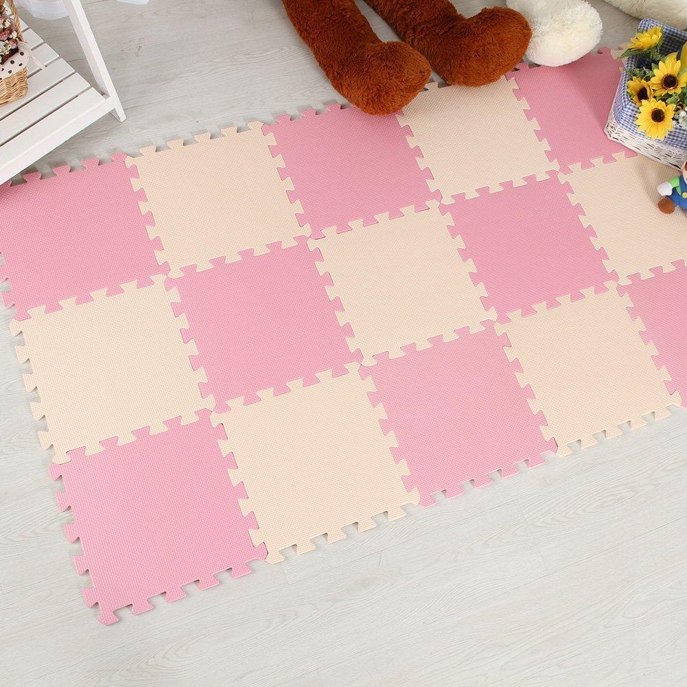 Menu Life 10-tile Beige & Pink Exercise Mat Soft Foam EVA Playmat Kids Safety Play Floor Puzzle Playmat Tiles