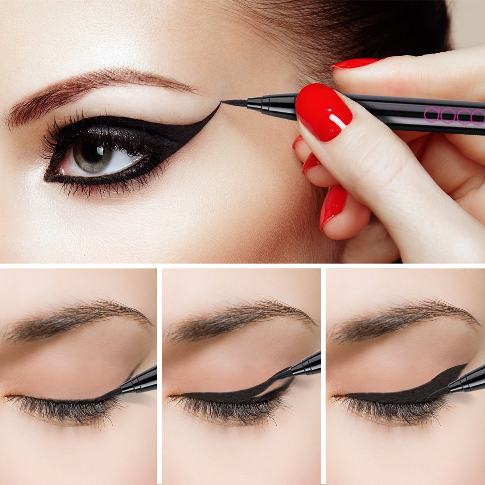 Docolor Waterproof Eyeliner Pen【update】Super Slim Precise All Day Black  Professional Makeup Liquid Eye Liner Pencil for Women