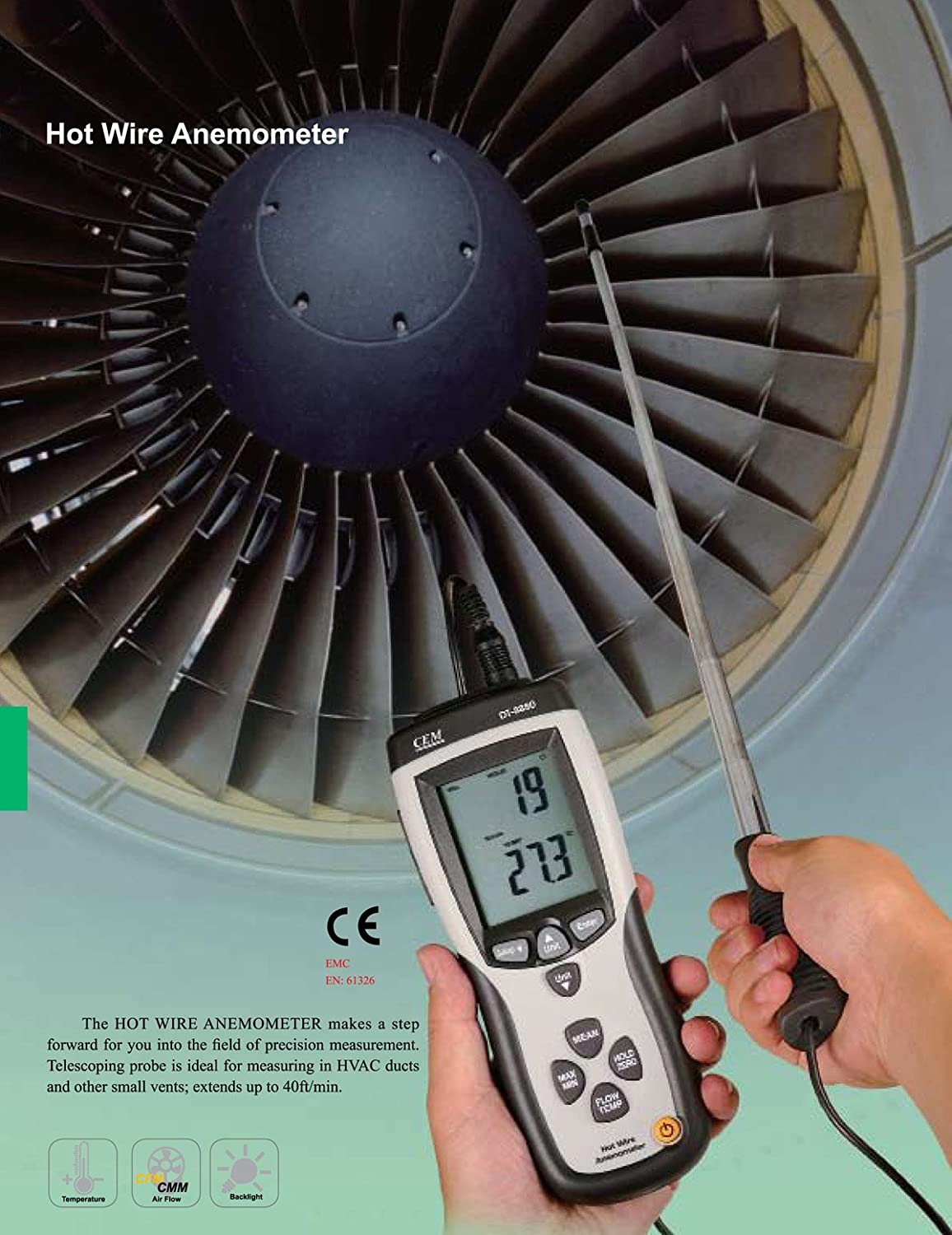 Ruby Electronics DT-8880 Hot Wire Thermo-Anemometer Air Flow ...