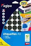 APLI Etui A5 ( 10F ) de 400 Pastilles Gommettes Rondes 24 mm Noir