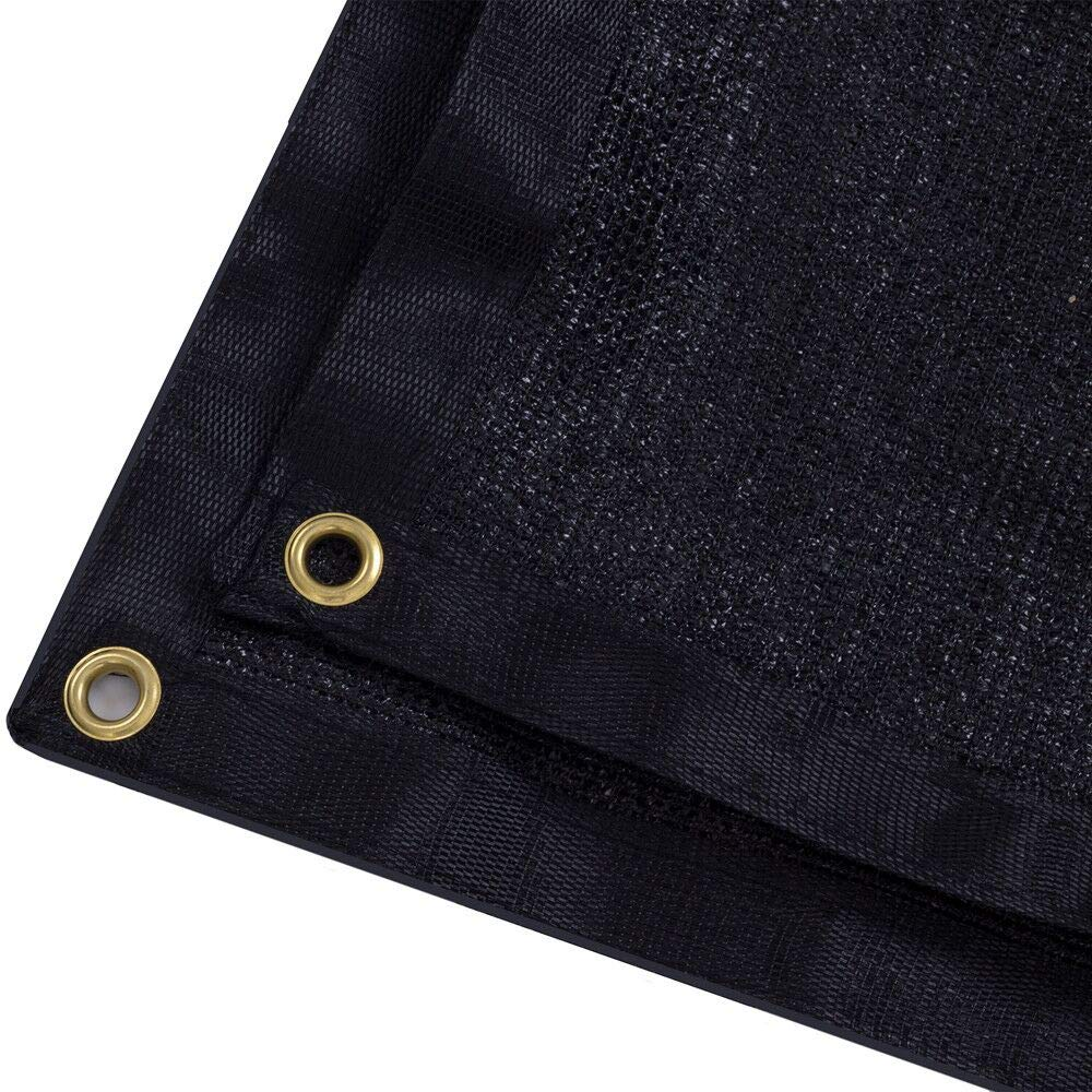 DIR 90% UV Black or Green Shade Cloth Premium Mesh Shade Sunblock Shade Panel with Grommets (20ft x 30ft, Black)