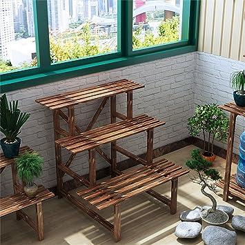 Liguihu Lh Rack Flower Estanteria De 3 Pisos De Madera Para - Escaleras-de-madera-para-exteriores