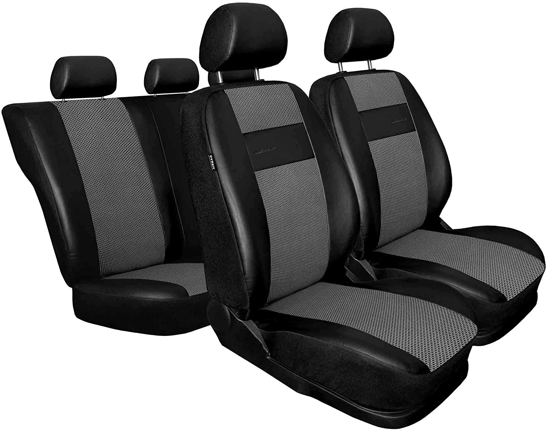 Auto Sitzbez/üge Kunstleder Blau mit Airbag 1+1 Autositze vorne und 1 Sitzbank hinten teilbar 2 Rei/ßverschl/üsse f/ür Vordersitze und R/ückbank 3er Set Saferide Autositzbez/üge PKW universal