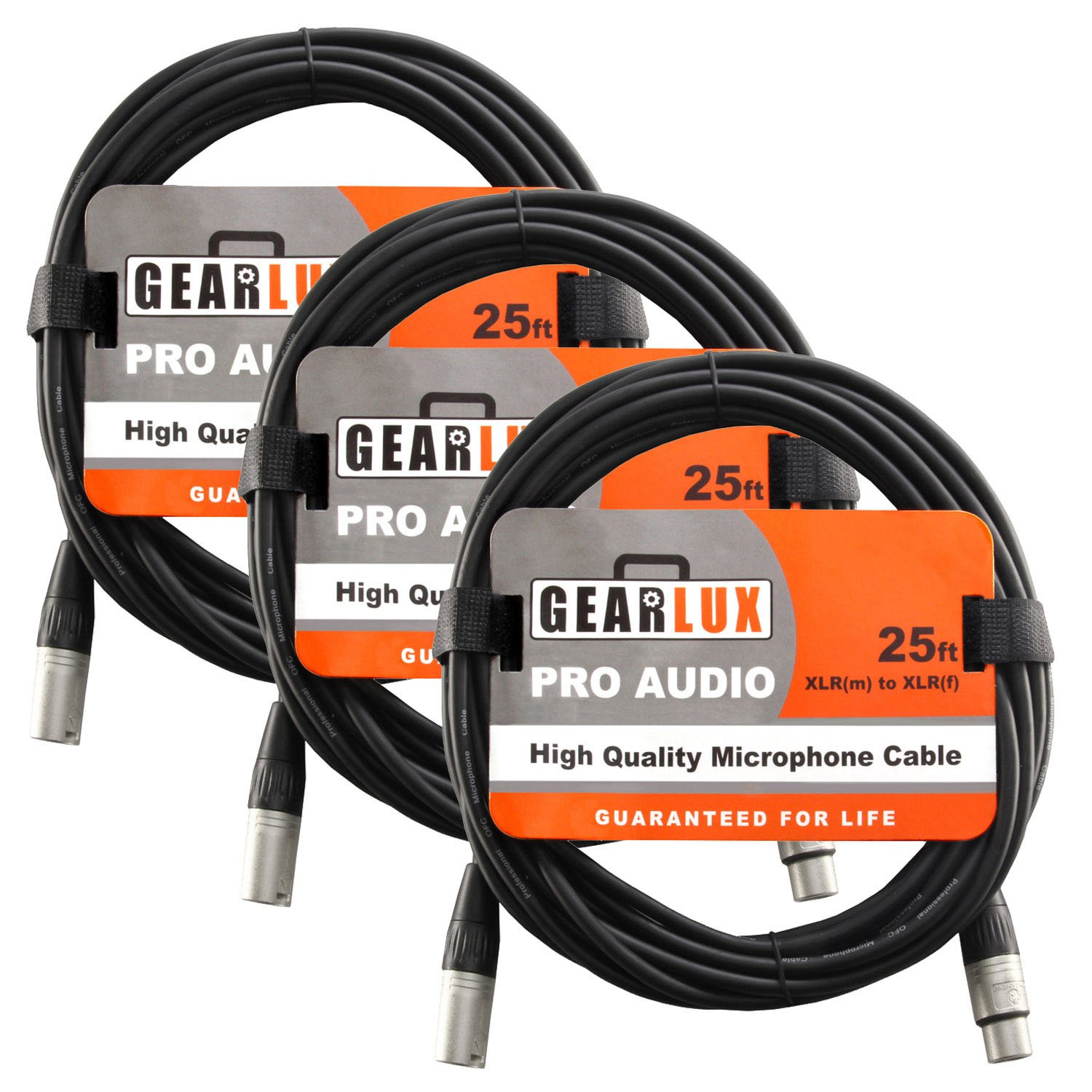 Gearlux XLR Microphone Cable, 25 Foot - 3 Pack