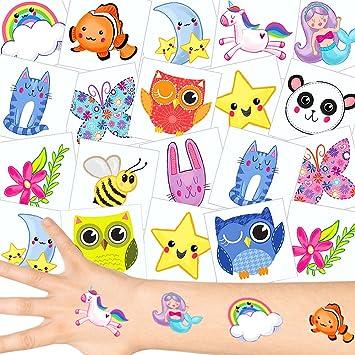 German Trendseller - 12 x Tatuajes temporales para niñas┃Lindo┃ Fiestas Infantiles┃ Idea de Regalo┃piñata┃cumpleaños de niños┃ 12 Unidades…