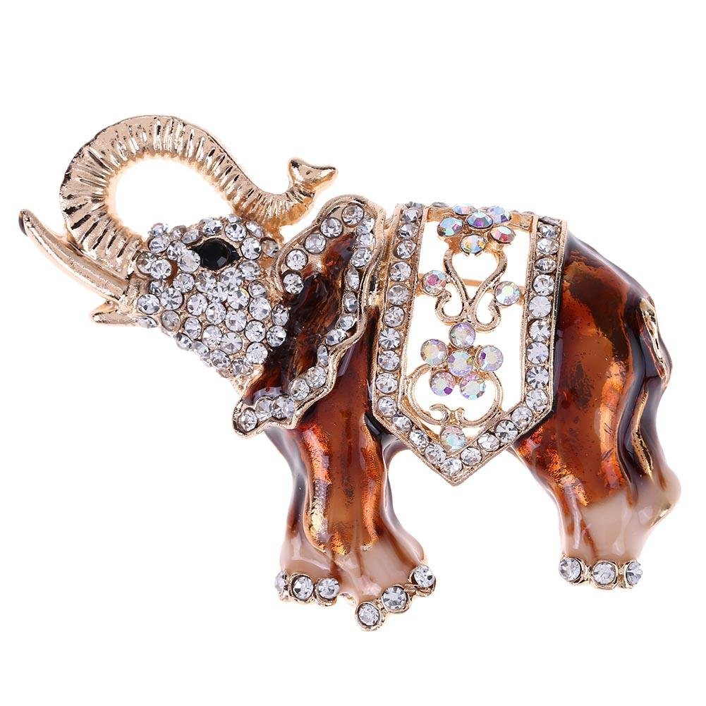 HighPlus Women Kids Cartoon Elephant Rhinestones Brooch Cute Jewelry Collar Bag Pin
