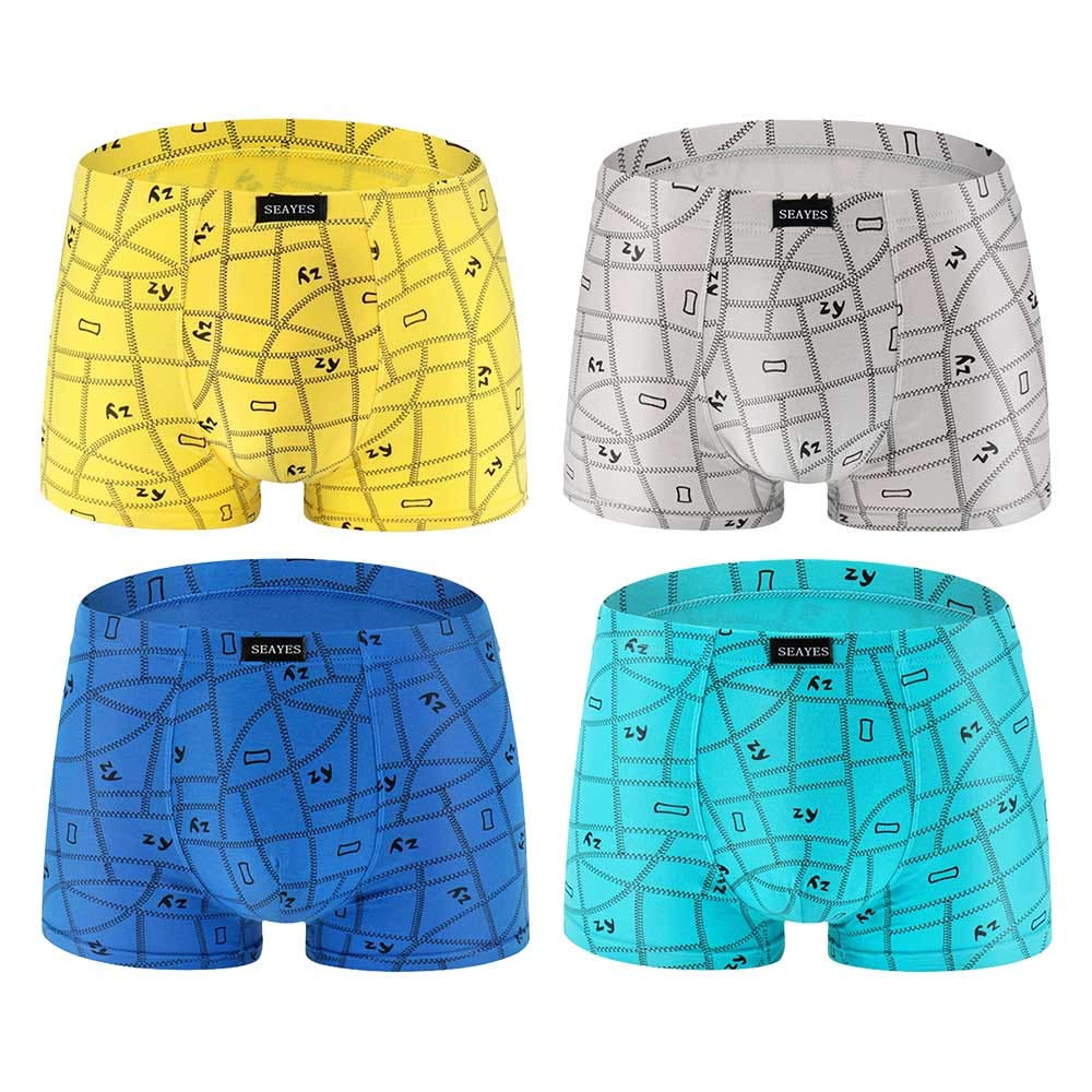 Mens 4 Pack Ultra Soft Comfy Breathable Bamboo Rayon Trunks Underwear No Fly