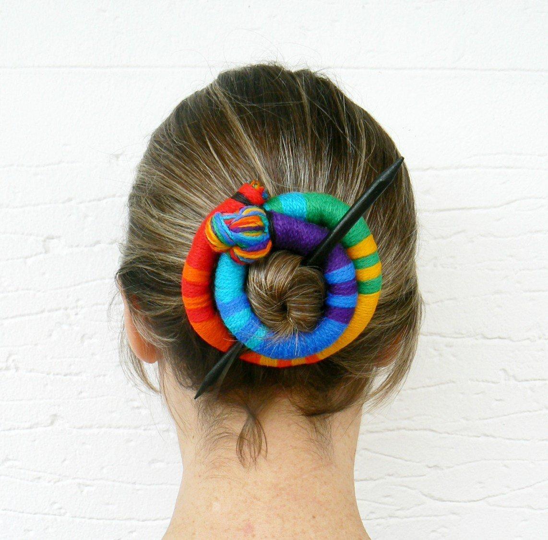 Hair bun Barrette Hairstyle fascinator Rainbow hair slide Head accessory Long curly hair accessory Scarf clip brooch pin
