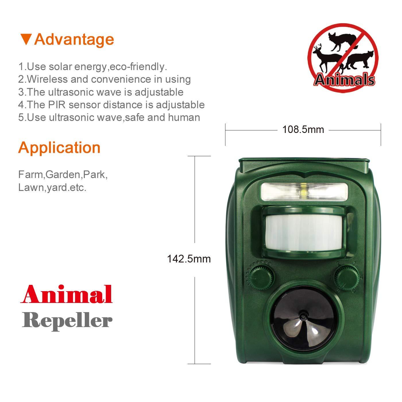 GREADEN Repelente Solar Animales Repellent Gato Exterieur sensibilidad y frecuencia Ajustable Ultrasonido Protector de jardín: Amazon.es: Jardín