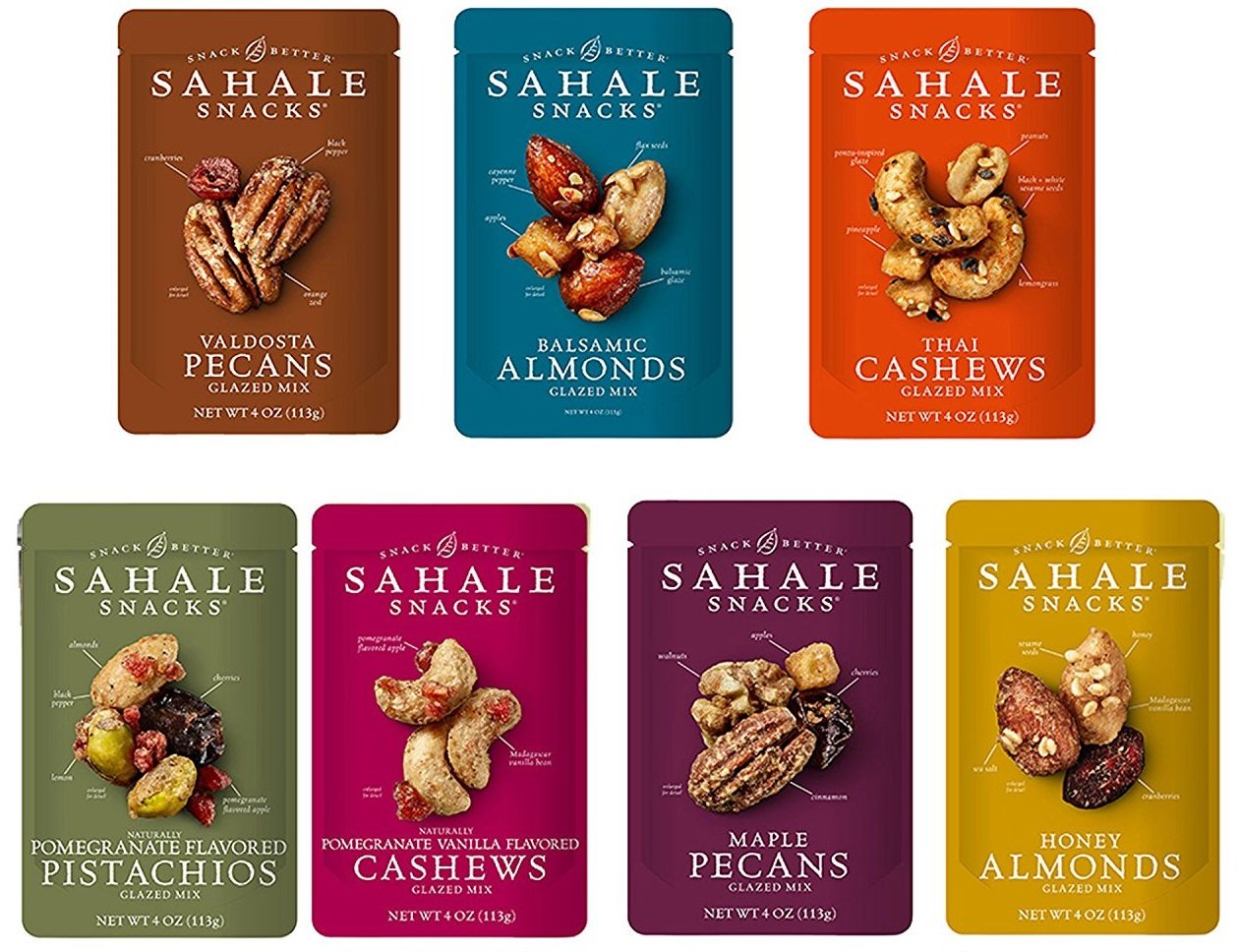 Sahale Snacks - All Natural Glazed Mixed Nut Blend Variety Combo - 1 of Each Flavor - 4 Ounces Per Bag (Pack of 7 Bags)