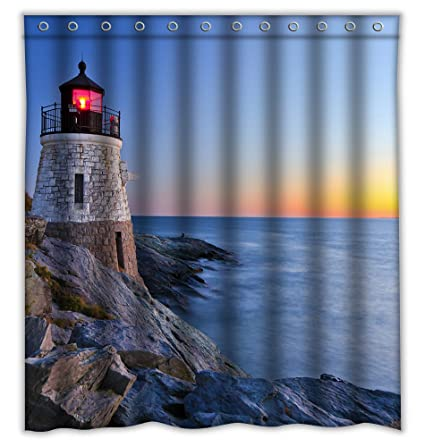 Homeshiny Lighthouse Shower Curtain Bath Decorations Bathroom Decor Sets With Hooks Gifts For Men And