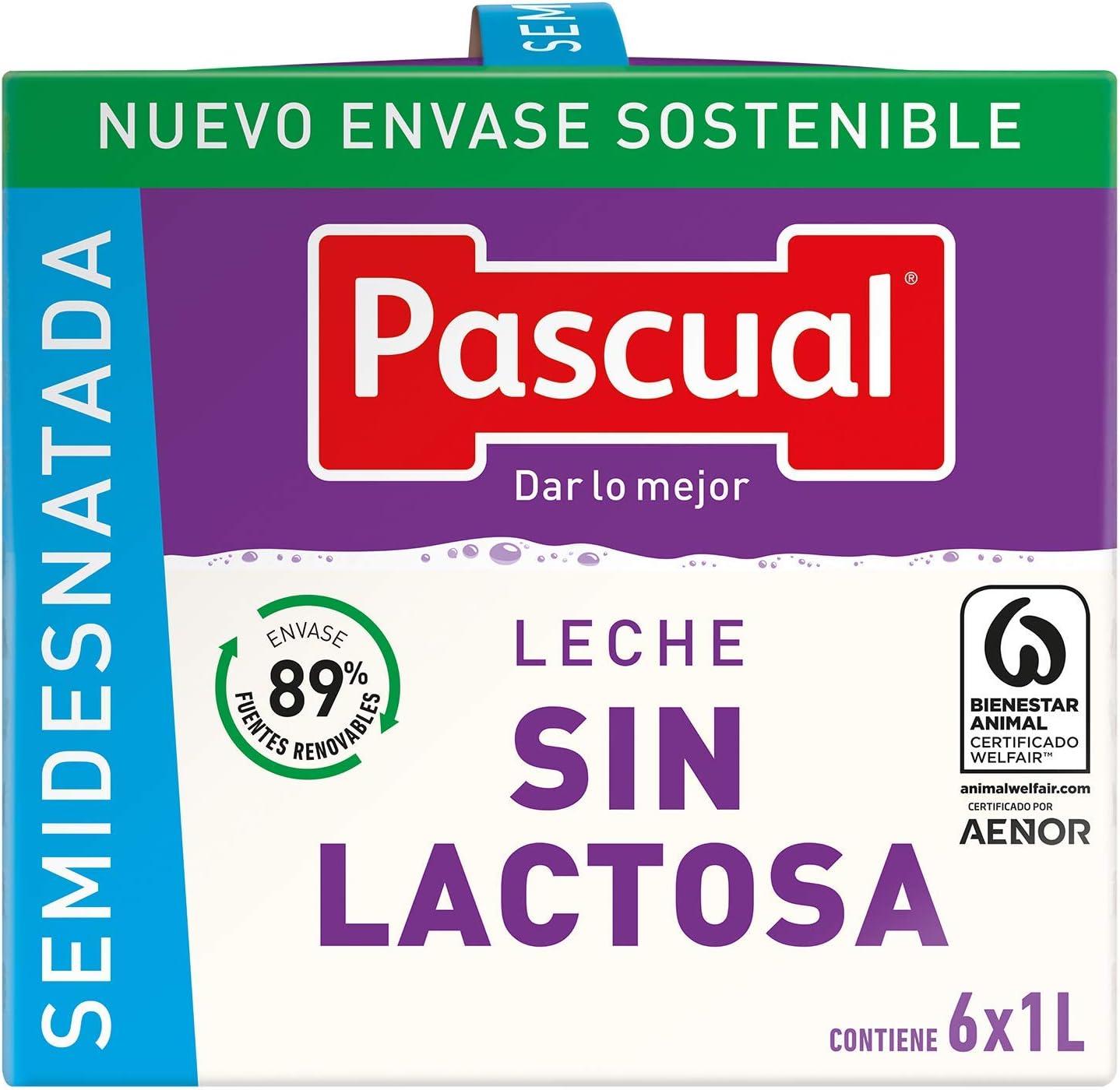 Pascual Leche Sin Lactosa Semidesnatada - Paquete de 6 x 1 l ...