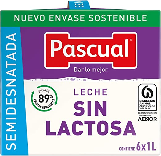 Pascual Leche Sin Lactosa Semidesnatada - Paquete de 6 x 1000 ml - Total: 6000 ml: Amazon.es: Alimentación y bebidas