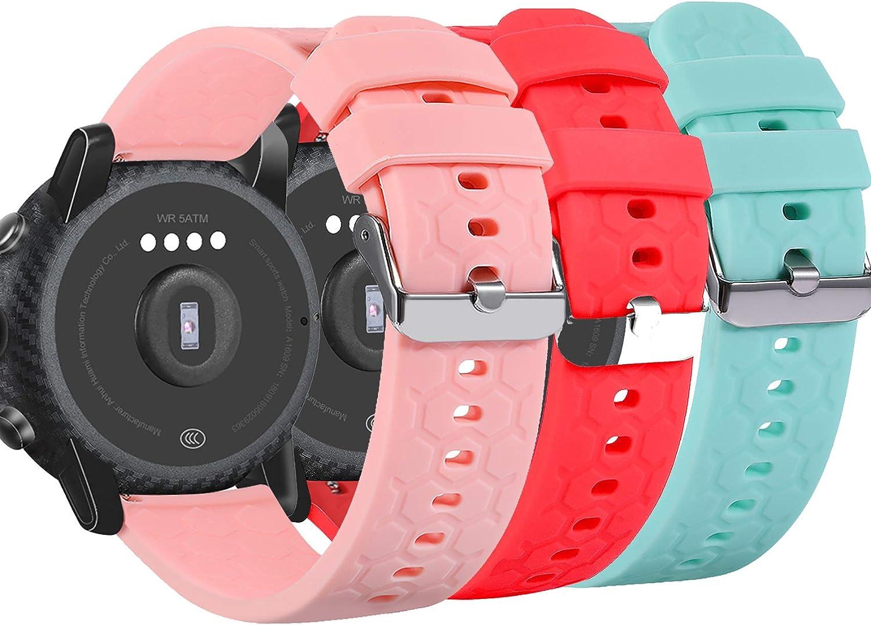 Ruentech Armband Kompatibel Mit Fossil Q Universal Smartwatch 22mm Silikon Armband Für Fossil Q Herren Gen 4 Explorist Hr Herren Gen 3 Explorist Touchscreen Wander Gen 2 Touchscreen Sportuhr Sport Freizeit