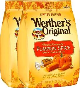 NEW Werther's Original Limited Edition Halloween Pumpkin Spice/ Caramel Apple Soft Caramels - 9.4oz (Pumpkin Spice, 2)