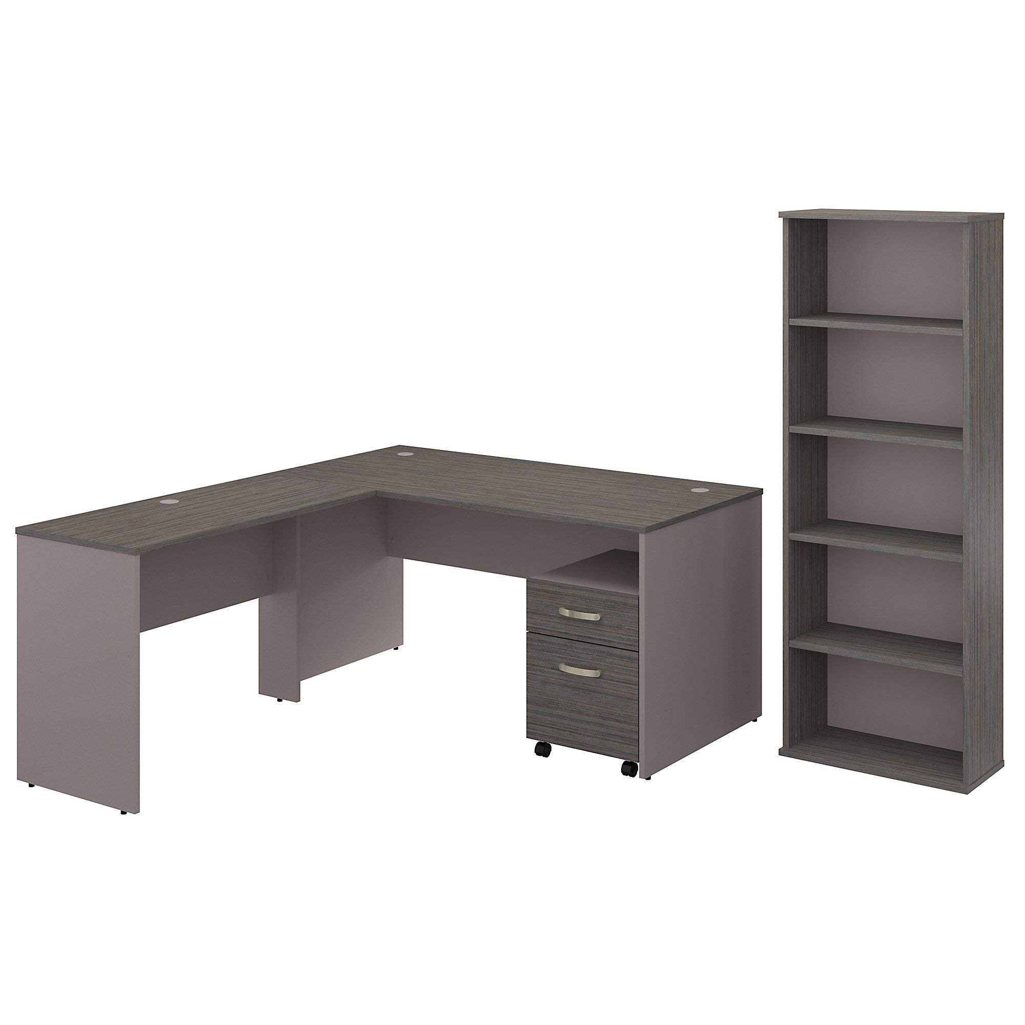 Bush Furniture Commerce 60W L Shaped Desk with Mobile File Cabinet and Bookcase in Cocoa and Pewter
