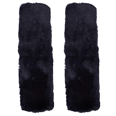 "Cutequeen Trading 10"" Black Sheepskin Seat Belt Shoulder Pad Cover - Pair: Automotive"