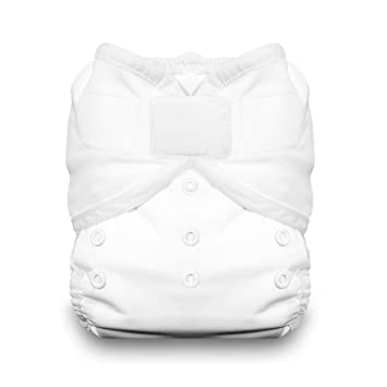Size 1 White Thirsties Duo Wrap Diaper Cover with Hook and Loop