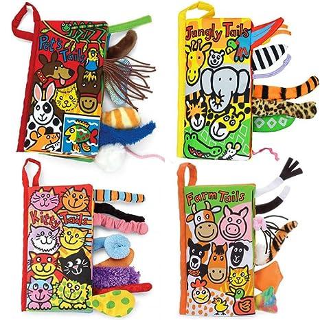 amazon com kemilove set of 4 animal tails cloth book baby toy cloth